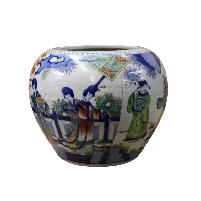 Chinese Oriental People Scenery Graphic Ceramic Vase Jar Pot For Sale