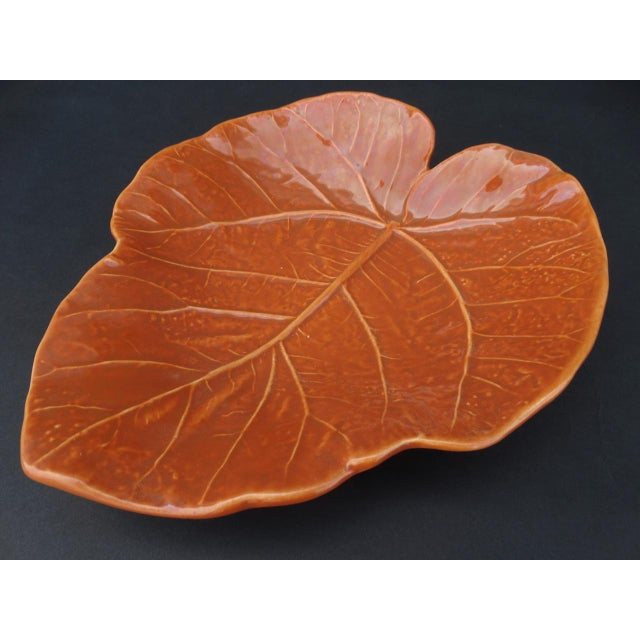 1940s Vintage Orange Newell Stevens Leaf Dish in Cantaloupe For Sale - Image 5 of 8