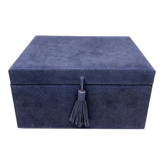 Americana Style Navy Blue Suede Leather Box - Large