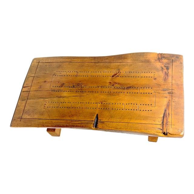 Vintage Folk Art Half-Log Cribbage Board For Sale