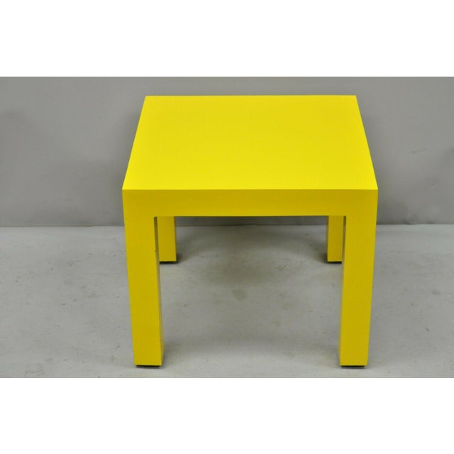 1970s Vintage Thayer Coggin Milo Baughman Yellow Parsons Style Laminate End Table For Sale - Image 10 of 10
