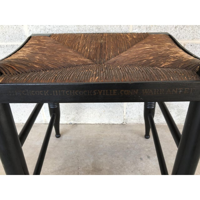 1940s L. Hitchcock Rush Bottom Bolster Turtle Back Side Chair For Sale - Image 9 of 10