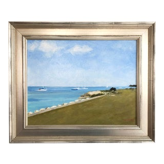 """Harbor Scene of Padanaram"" Contemporary Nautical Seascape Oil Painting by Frank McCoy, Framed For Sale"