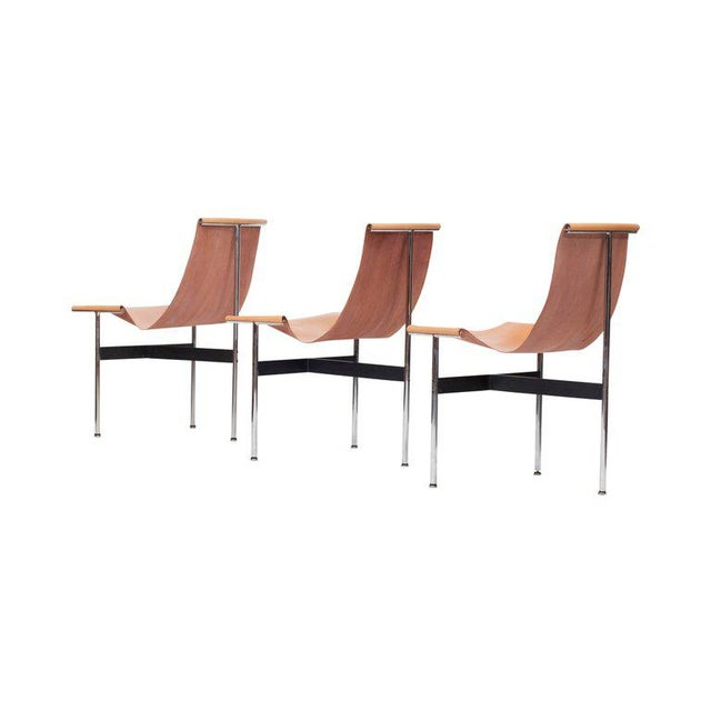 Laverne International T Chairs in Natural Cognac Leather For Sale - Image 6 of 11