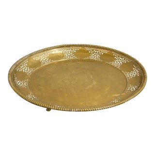 Brass Pedestal Tray With Legs For Sale