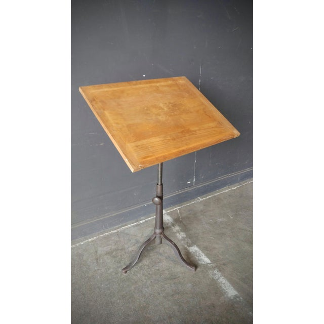 Industrial Drafting Table With Cast Iron Base For Sale - Image 4 of 13