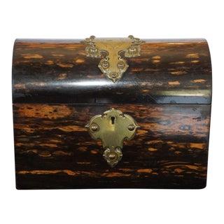 19th Century Antique Calamander Tea Caddy For Sale