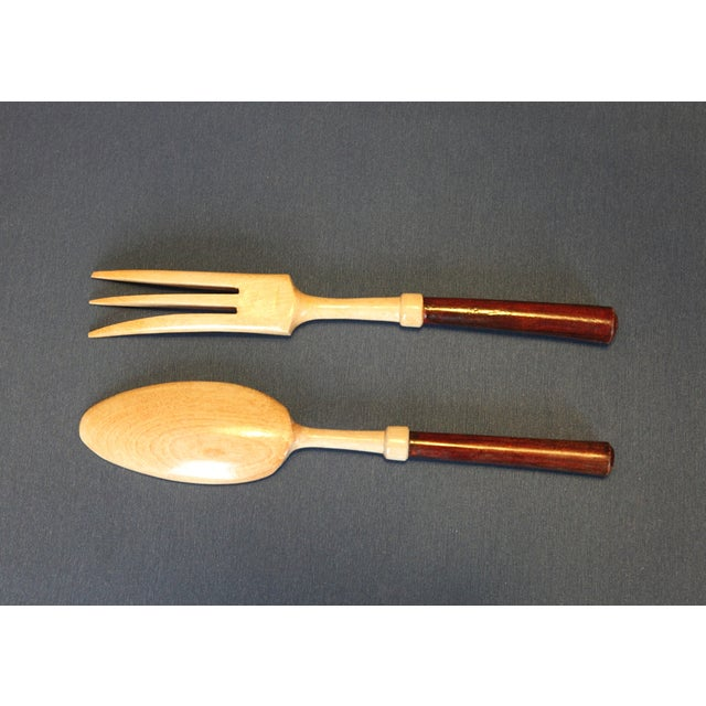 Primitive Wooden Salad Fork & Spoon - A Pair For Sale - Image 3 of 5