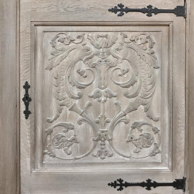 Buffet, Antique Gothic in Whitewashed Oak For Sale - Image 10 of 13