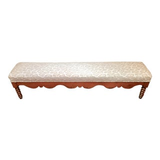 1910s Antique Scalloped Wood Bench For Sale