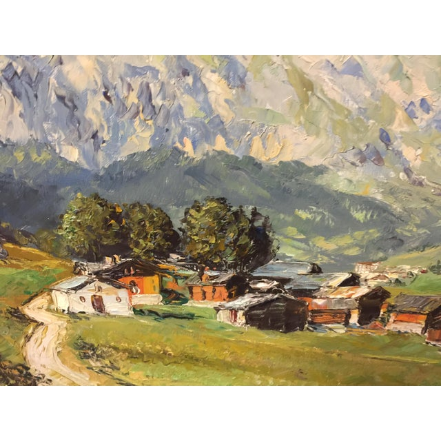 Canvas Village Mountain Scene Oil Painting Signed E Rosset For Sale - Image 7 of 10
