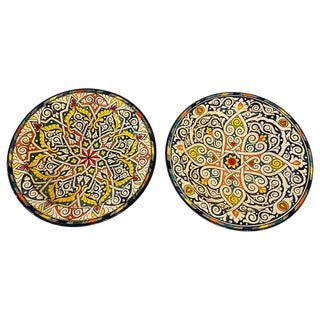 Hand Painted Large Ceramic Serving or Decorative Plates - a Pair For Sale