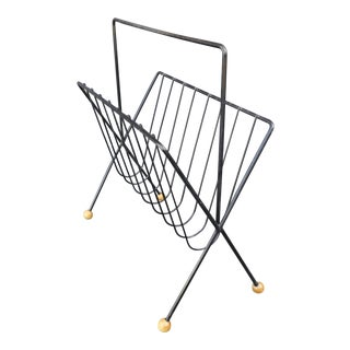 1950s Mid Century Modern Wrought Iron Magazine Rack For Sale