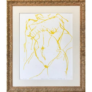 Mid Century Modernist Abstract Figural Nude Lithograph by Gerard Haggerty 1967 For Sale