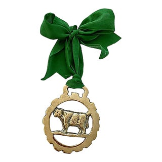 19th-C. English Horse Brass Cow Ornament For Sale