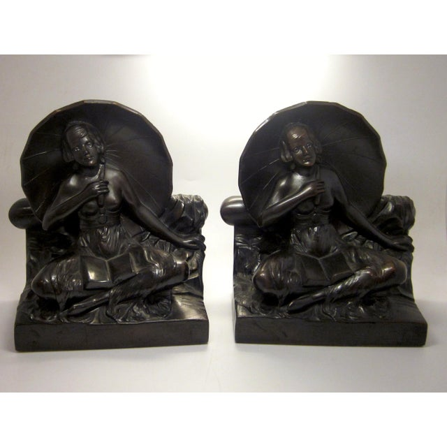 "Early 20th Century Art Nouveau/Art Deco ""Umbrella Girl"" Cast Metal Bookends - a Pair For Sale - Image 10 of 10"