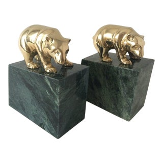 Vintage Polished Brass Granite Bear Bookends For Sale