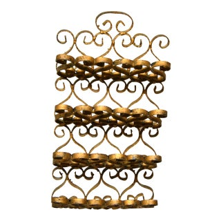 Art Nouveau Whimsical Handcrafted Golden Wrought Iron Letter, Recipe Organizer For Sale