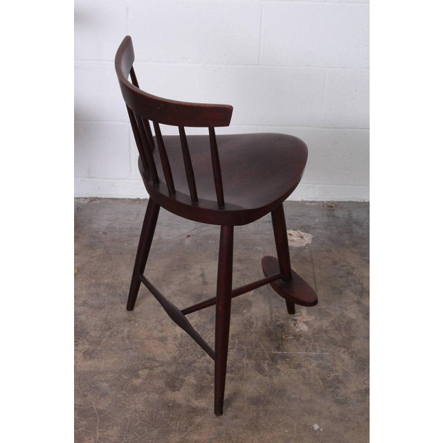 Brown Set of Three Mira Barstools by George Nakashima For Sale - Image 8 of 10