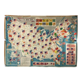 "1960's Vintage ""The Flags of the United States"" Map For Sale"