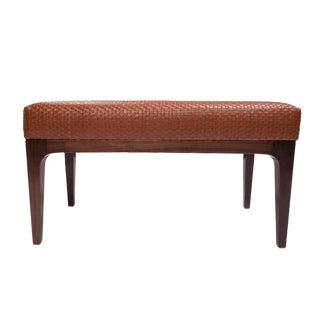 Mid-Century Modern Style Raphael Walnut Frame & Basket Weave Leather Bench For Sale