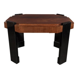Art Deco Streamlined Octagonal Occasional Table in Bookmatched Burled Walnut For Sale