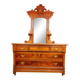 Antique Dresser With Key Mirror and Marble Top For Sale