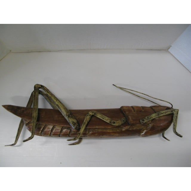 Huge Wood Grasshopper with Gilt Metal Legs For Sale - Image 4 of 13