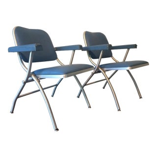 Warren McArthur for Mayfair Mid-Century Modern Art Deco Folding Chairs - a Pair For Sale