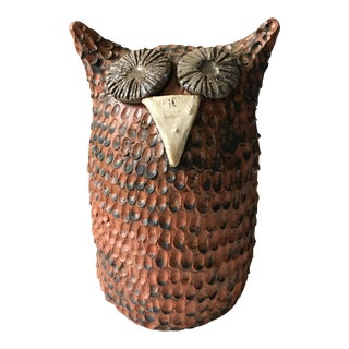 Mid Century Owl Pottery Piece, Signed