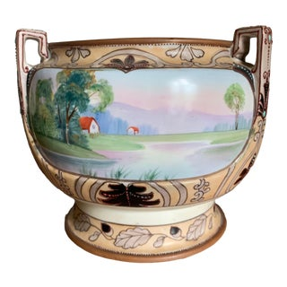 Antique Art Deco Period Hand-Painted and Enameled Nippon Planter For Sale