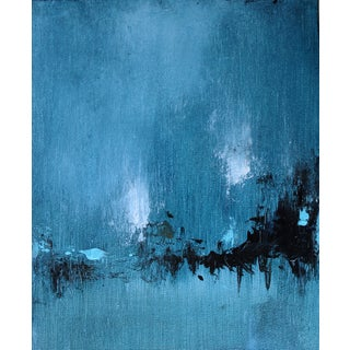 Sunday in Seattle Blue Landscape Abstract Painting For Sale