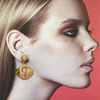 Modernist Gold Tone Dangle Earrings by Pierre Cardin Preview