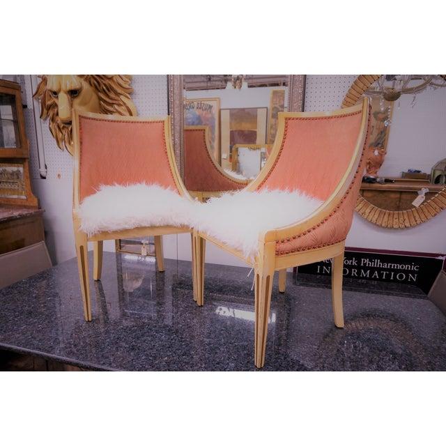 Faux Fur Deco Boudoir Chairs - A Pair - Image 2 of 10