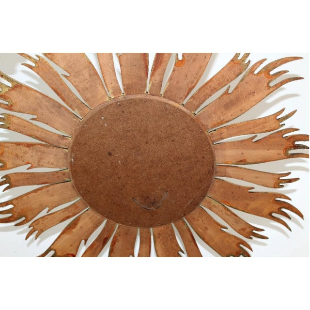 French Vintage French Mid-Century Gilt Sunburst Mirror For Sale - Image 3 of 6