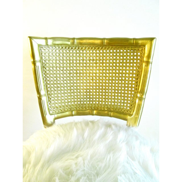Gold Faux Bamboo & Fur Swivel Chair - Image 7 of 8