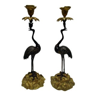 20th Century Gilt and Patinated Bronze Crane Candlesticks on Rock Work Bases - a Pair For Sale