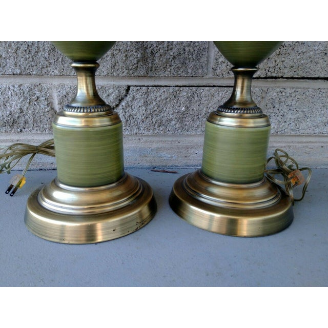 Rembrandt Lamp Company Vintage Rembrandt Brass & Green Enamel Hollywood Regency Table Lamps With Diffuser - a Pair For Sale - Image 4 of 13
