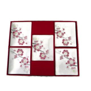 Cherry Blossom Tutanka Japanese Cloisonne Enamel Plates/Trays - Set of 5 Preview
