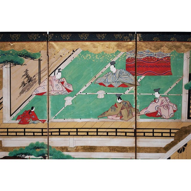 17th C. Japanese the Tale of Genji Byobu Screen For Sale In Dallas - Image 6 of 13