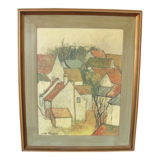 Vintage Impressionist Print on Board by Andre Minaux