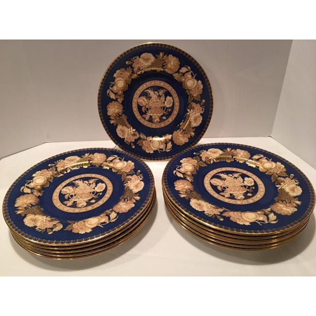 Spode Blue & Gold Floral Service Plates - Set of 12 For Sale - Image 9 of 10