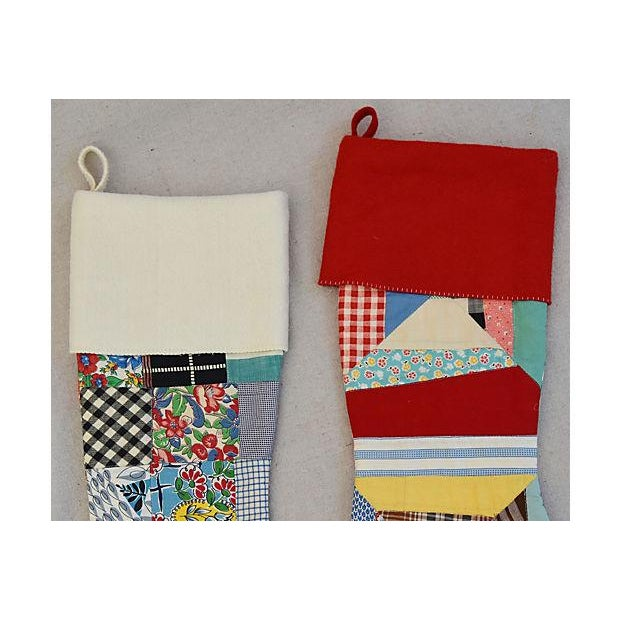 "Traditional Large 22"" Custom Tailored Patchwork Quilt Christmas Stockings - Pair For Sale - Image 3 of 7"