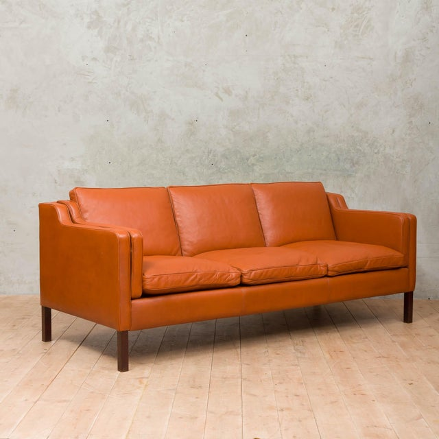 1970s 1970s Vintage Stouby Cognac Leather 3 Seat Sofa For Sale - Image 5 of 12