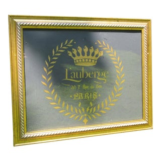 French Reverse Painted Gold on Glass Lauberge No.7 Rue Du Bas Paris Cafe Sign For Sale