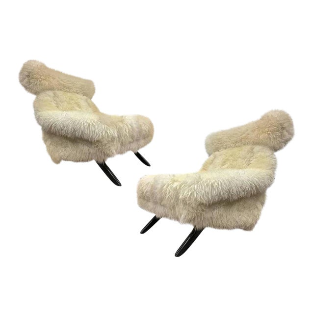 Illum Wikkelso Spectacular Hammer Lounge Chair Covered in Natural Sheepskin Fur For Sale