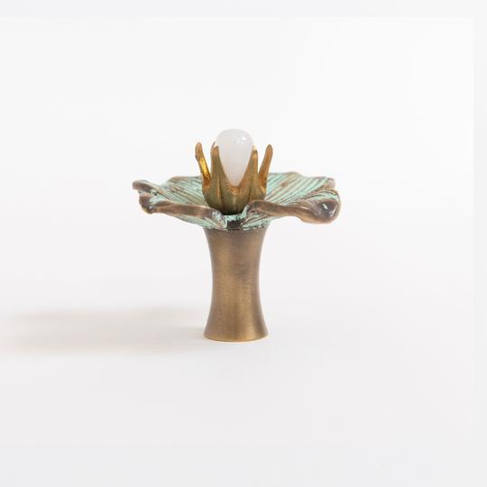 "Not Yet Made - Made To Order Addison Weeks Dogwood 2"" Custom Knob - Patina & Moonstone For Sale - Image 5 of 7"