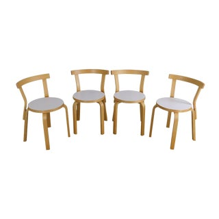 Alvar Aalto Set 4 Birch Wood Dining Chairs For Sale
