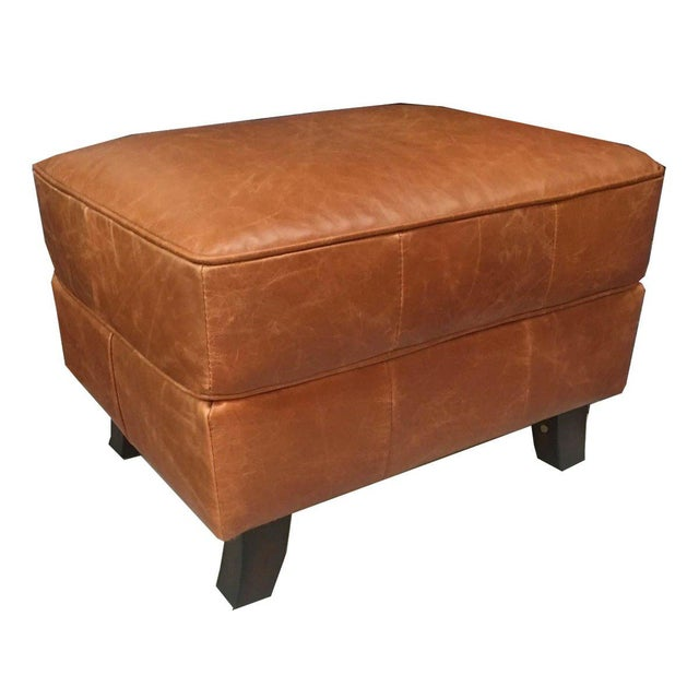 Boho Chic Vienna Tan Leather Ottoman For Sale - Image 3 of 3