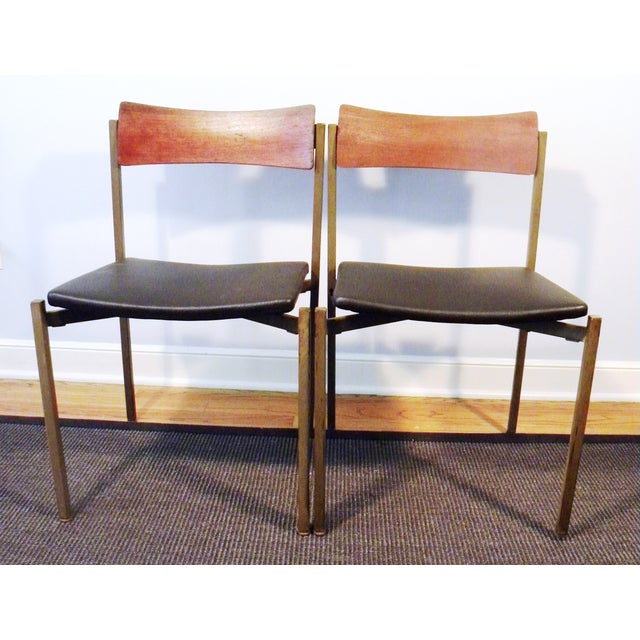 Mid-Century Floating Seat Metal Chairs - A Pair - Image 3 of 8